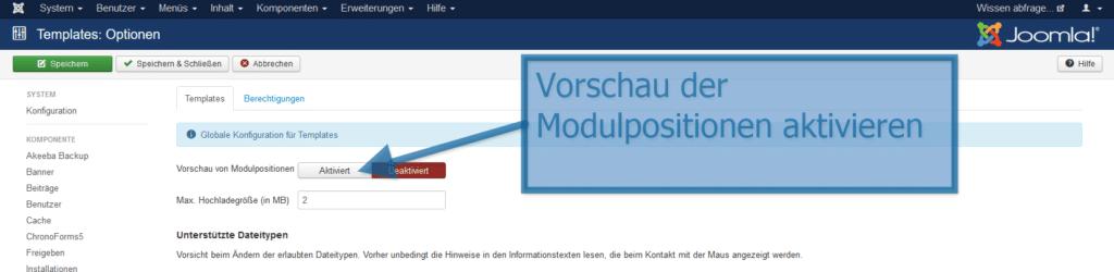 Inetgestaltung Joomla Modulpositionsvorschau